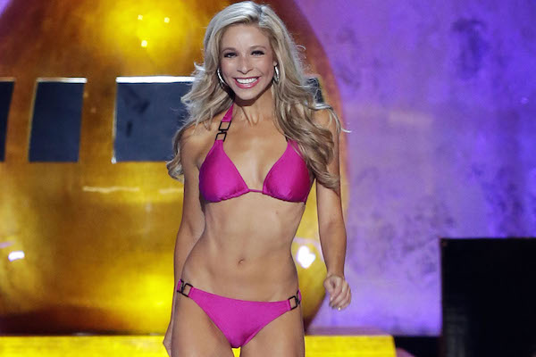 Miss New York Kira Kazantsev competes in the swimsuit segment of the competition before winning the Miss America 2015 Competition at Boardwalk Hall in Atlantic City, NJ on September 14, 2014. Miss New York won the competition for a third consecutive year. UPI/John Angelillo